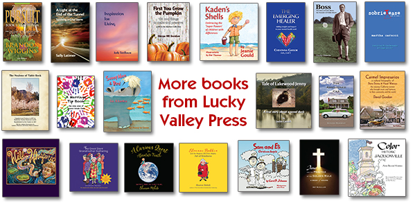 A collage of 21 book covers designed by Lucky Valley Press