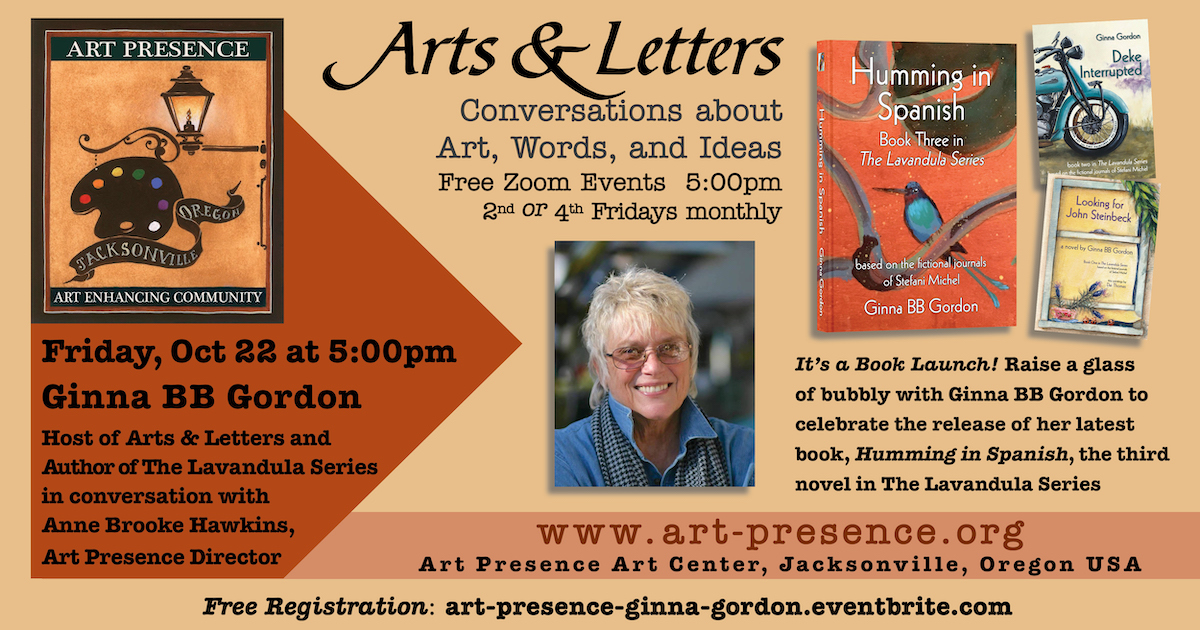 A graphic promoting Ginna Gordon's October 22 online book launch.
